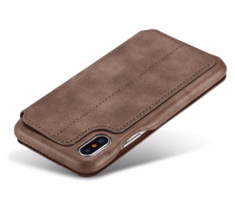 Flip Stand Leather Wallet Case Dark Brown Back