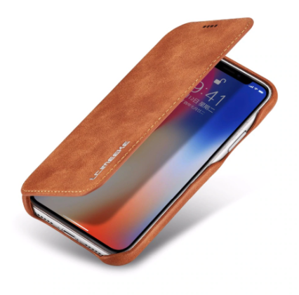 Flip Stand Leather Wallet Case Brown Outside 2