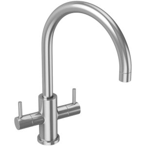 Abode Novar Twin Lever Mono Sink Mixer Stainless Steel