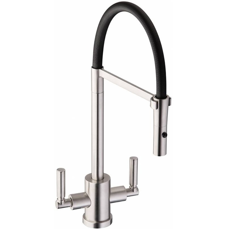 Abode Atlas Professional Twin Lever Sink Mixer Brushed Nickel