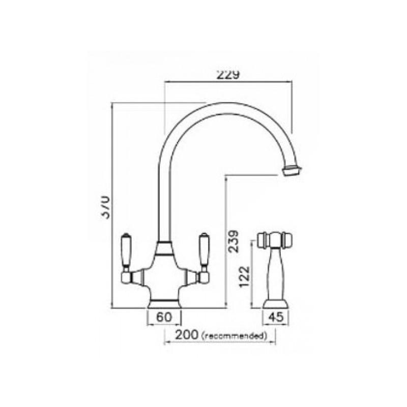 Abode Astbury Dual Lever Mono Sink Mixer with Handspray Pewter