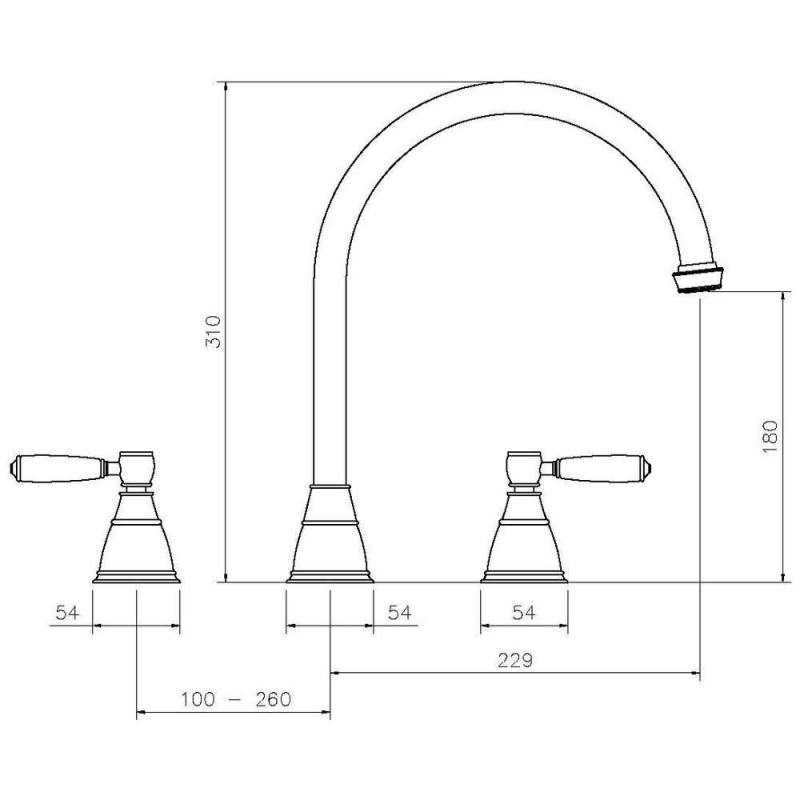 Abode Astbury 3 Part Sink Mixer Chrome