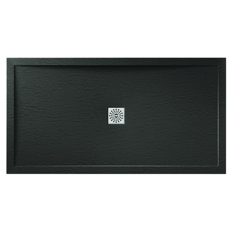 April Waifer Slate Effect Shower Tray 1400x700mm Black