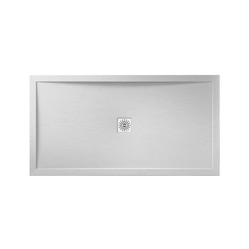 April Waifer Slate Effect Shower Tray 1400x760mm White