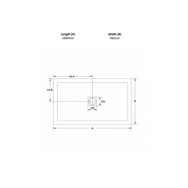April Waifer Slate Effect Shower Tray 1600x760mm Black