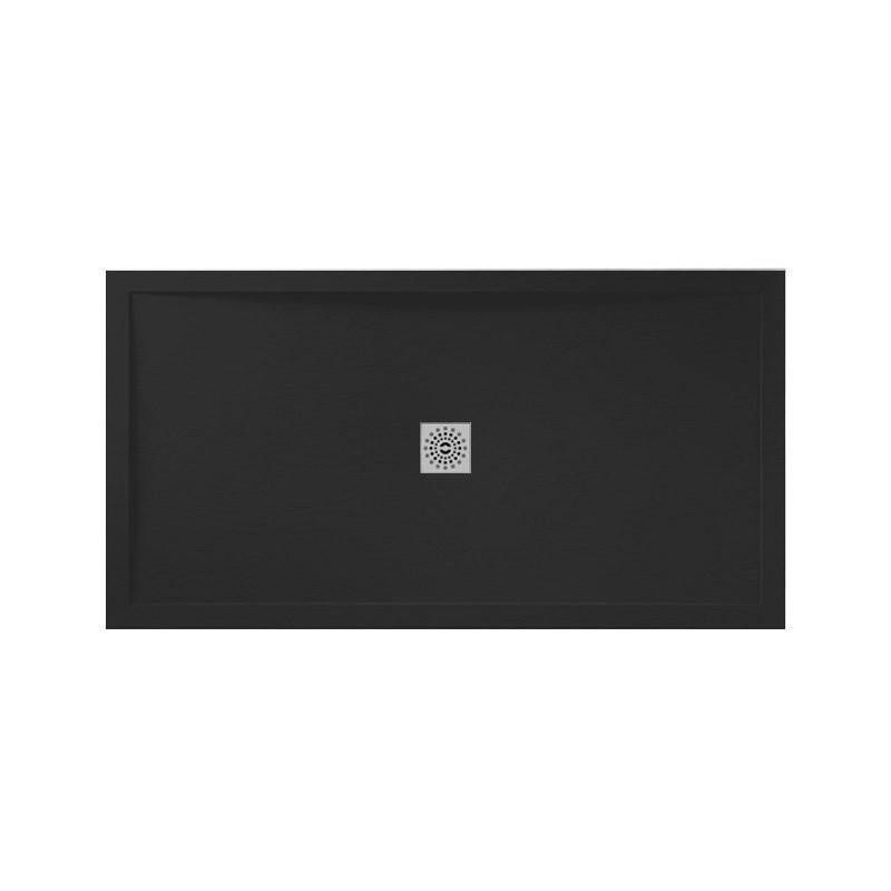 April Waifer Slate Effect Shower Tray 1700x760mm Black