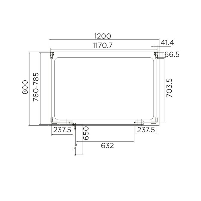 Aquadart Inline Hinged Door 3 Sided Enclosure 1200x800mm
