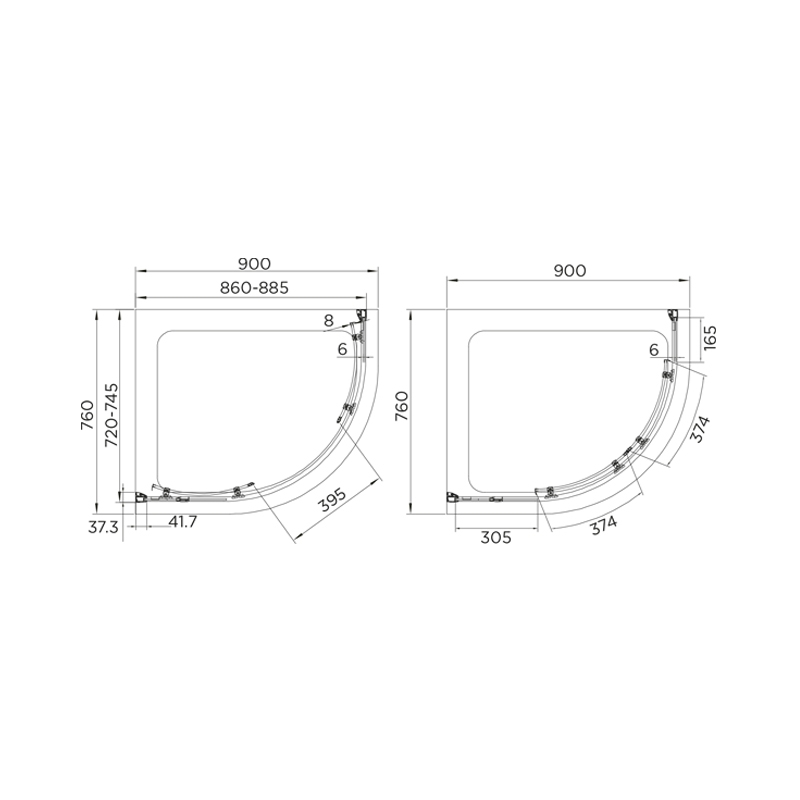 Aquadart Venturi 8 Double Door Quadrant Enclosure 900x760mm