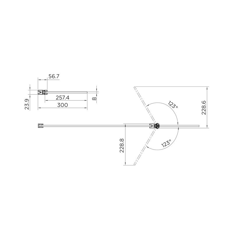 Aquadart 10mm Hinged Return Panel Clear/Black Chrome