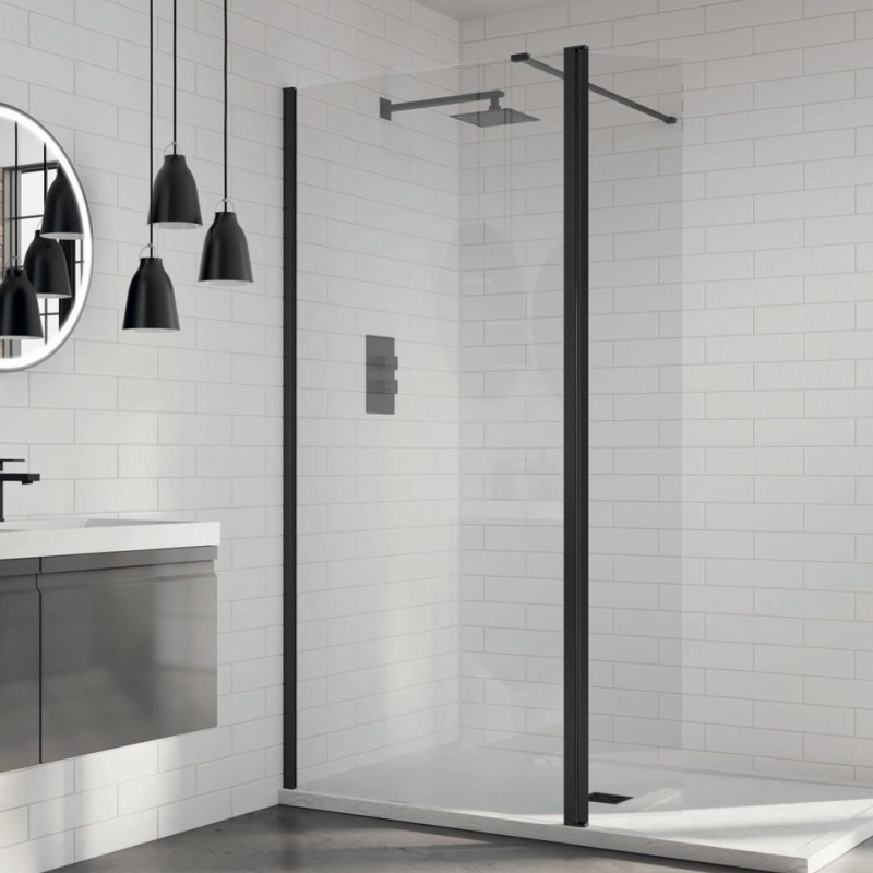 Aquadart 8 Wetroom Glass Panel 1200mm Clear