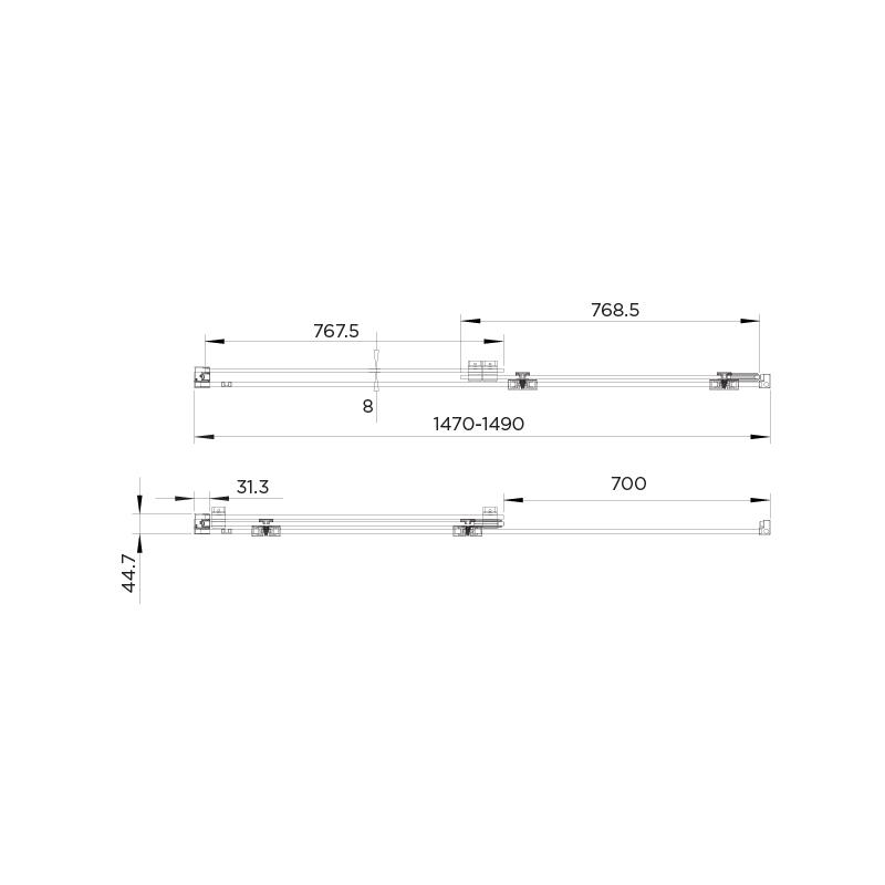 Aquadart Rolla 8 Sliding Wetroom Door 1500mm