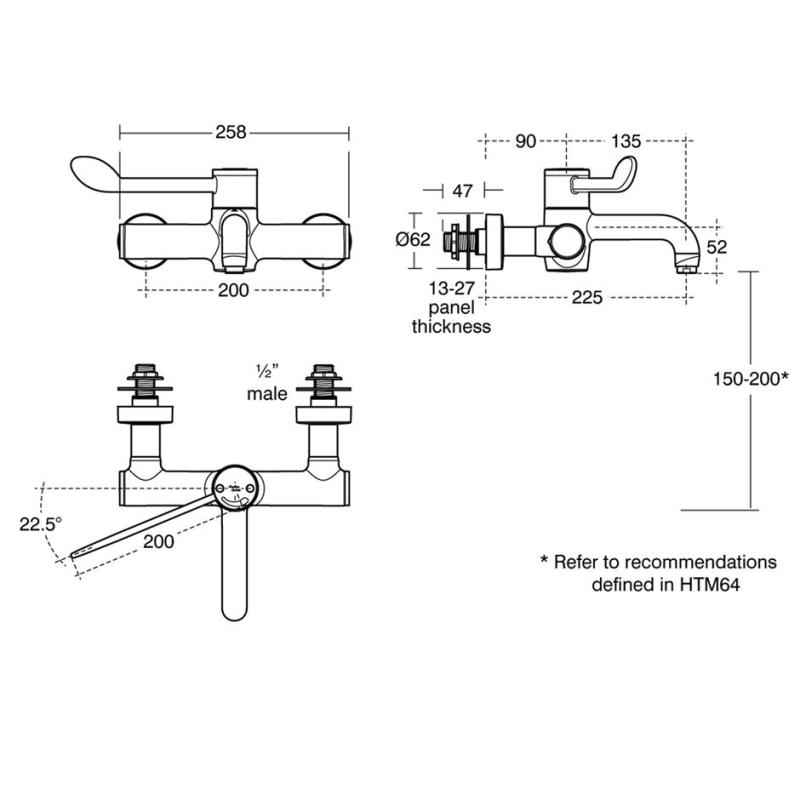 Armitage Shanks Markwik 21  Panel Lever Mixer, Fixed Spout