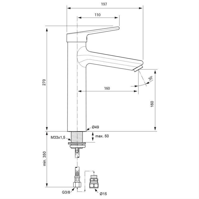 Armitage Shanks Contour 21  Tall Basin Mixer No Waste A6875