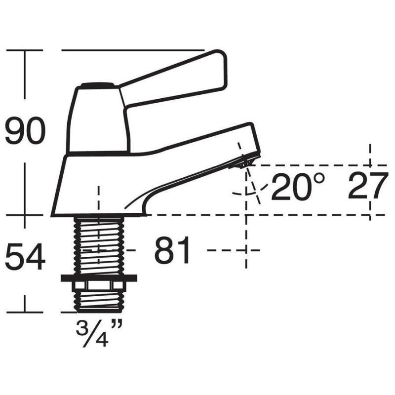 Armitage Shanks Alterna 21 Bath Pillar Taps, Lever B1680