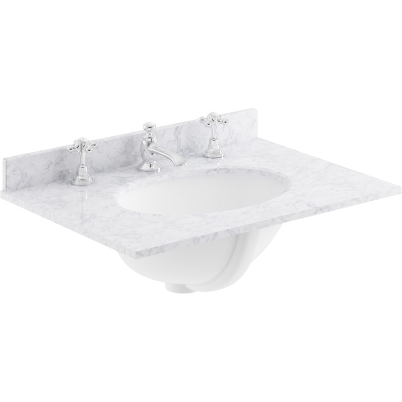 Bayswater White 600mm Single Bowl 3 Tap Hole Marble Top