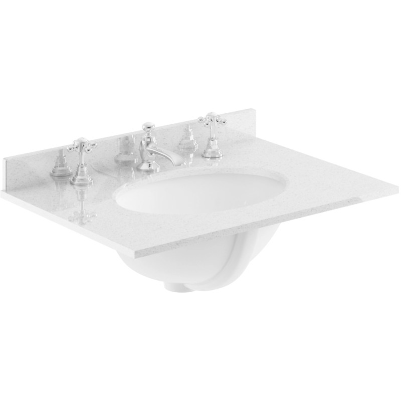 Bayswater Grey 600mm Single Bowl 3 Tap Hole Marble Top