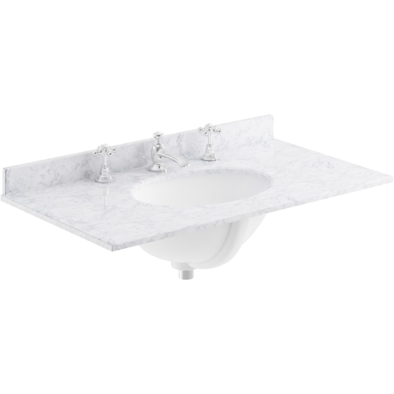 Bayswater White 800mm Single Bowl 3 Tap Hole Marble Top