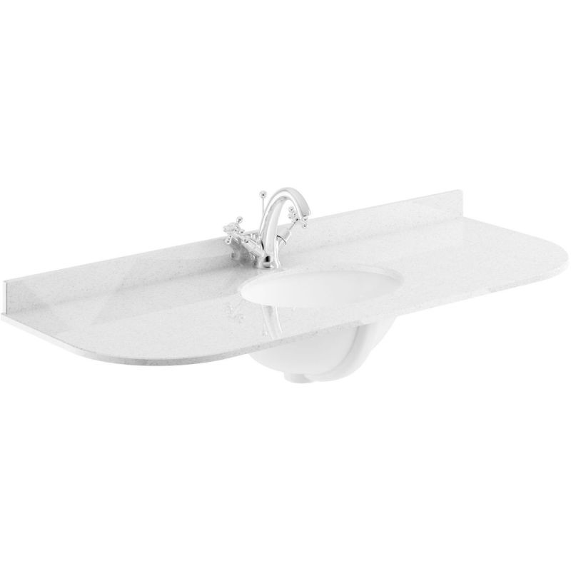 Bayswater Grey 1200mm Single Bowl 1 Tap Hole Curved Marble Top