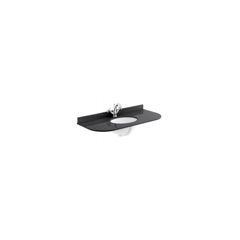 Bayswater 1000mm Single Bowl Curved 1 Hole Black Marble Top