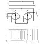 Bayswater Plummett Grey 1200mm 4 Door Basin Cabinet