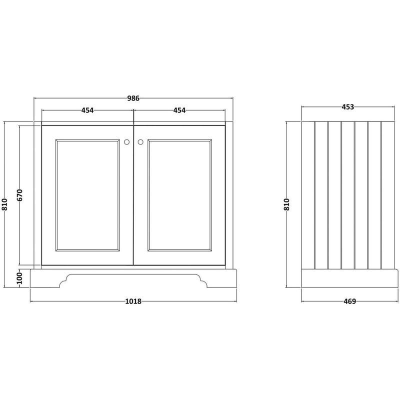 Bayswater 1000mm 2 Door Basin Cabinet Grey