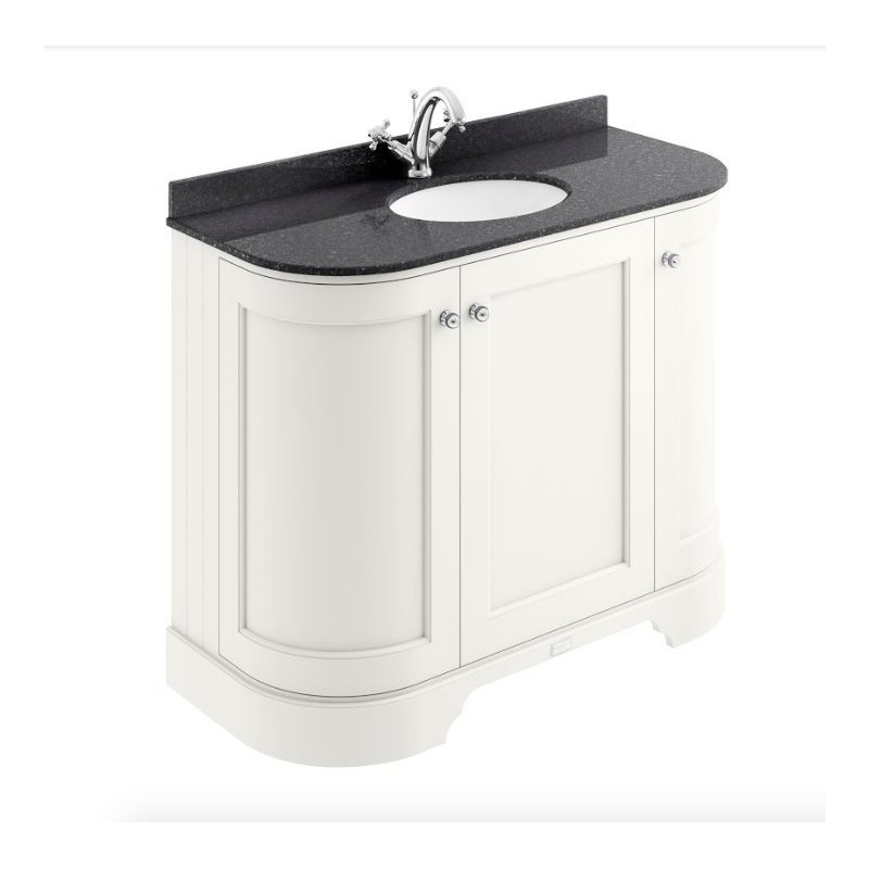 Bayswater 1000mm 3 Door Curved Basin Cabinet White