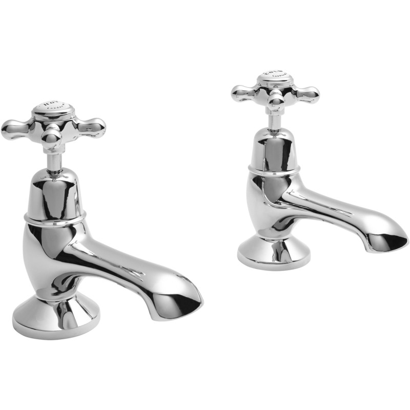 Bayswater White Bath Taps with Crosshead & Dome Collar