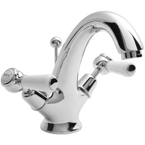 Bayswater White Mono Basin Mixer with Lever & Dome Collar