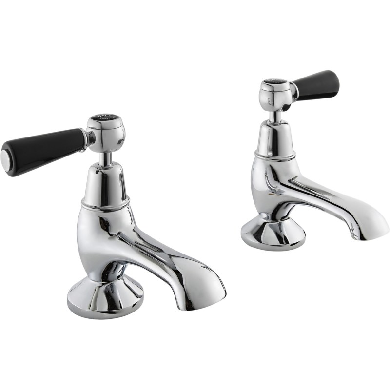 Bayswater Black Bath Taps with Lever & Dome Collar