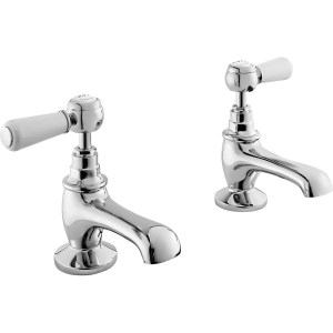 Bayswater White Basin Taps with Lever & Hex Collar