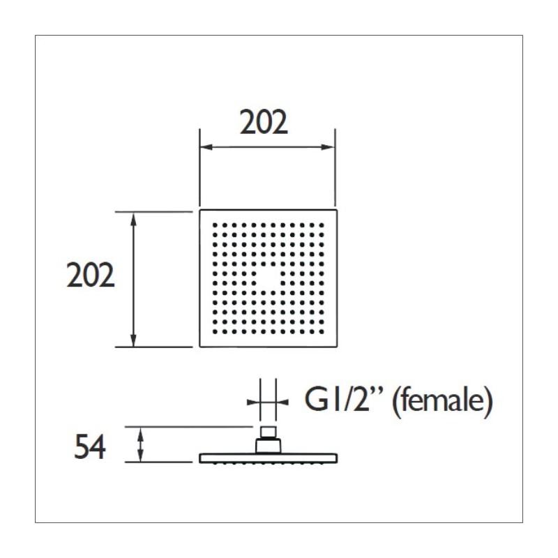 Bristan ABS 200mm Square Fixed Head Chrome