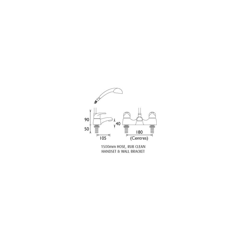 Bristan Java Bath Shower Mixer 8 Litre per Minute Flow