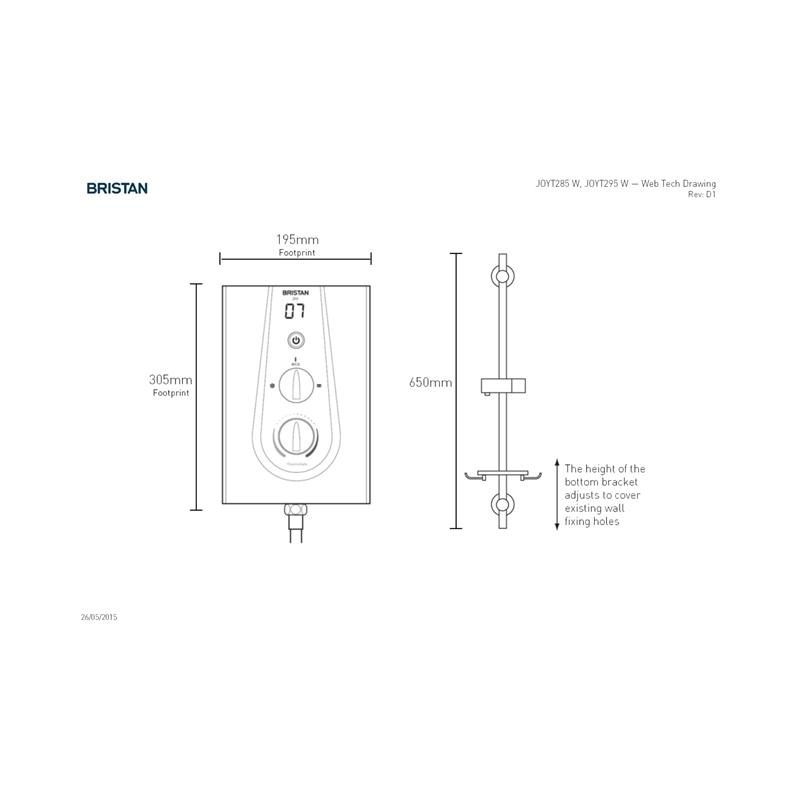Bristan Joy Thermostatic 8.5kW Electric Shower Metallic Silver