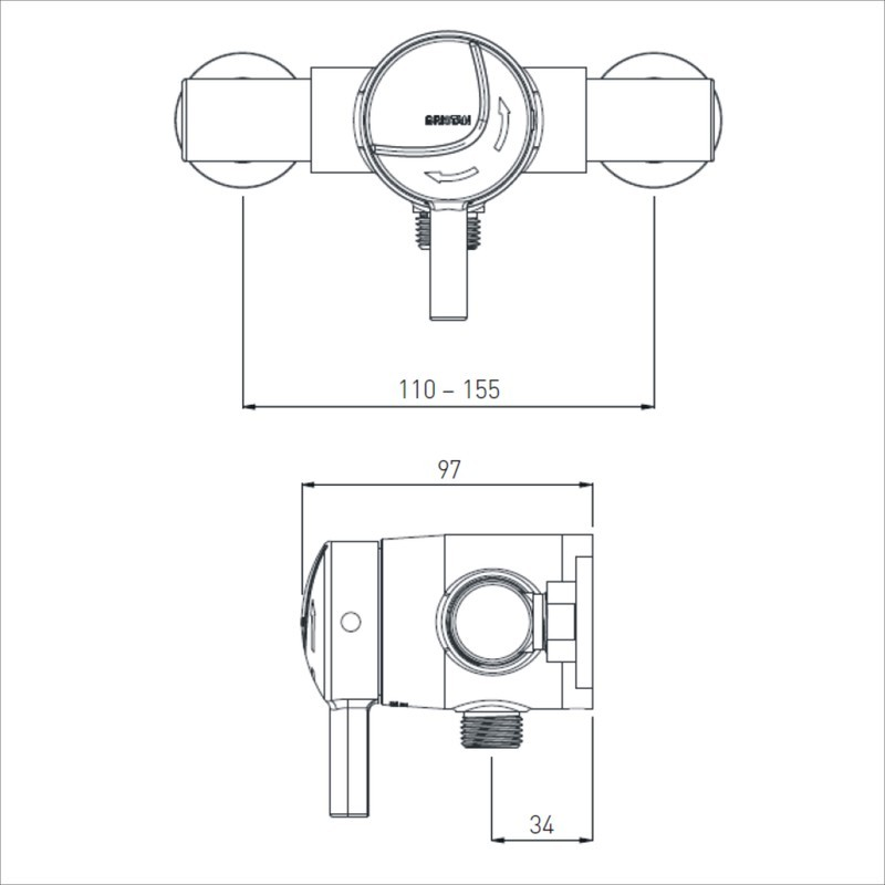 Bristan Gummers Opac Exposed Mini Shower Valve with Lever Chrome