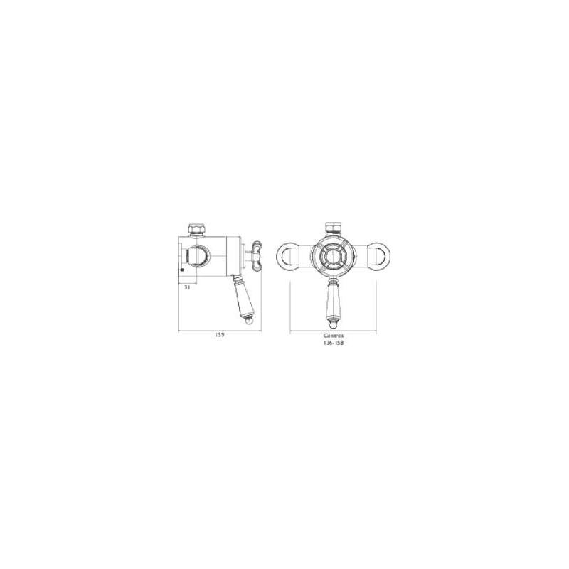 Bristan 1901 Exposed Concentric Top Outlet Shower Valve Gold