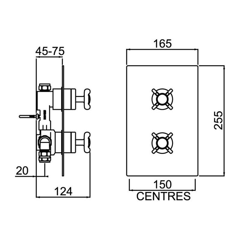 Bristan 1901 Recessed Thermostatic Chrome Shower Valve