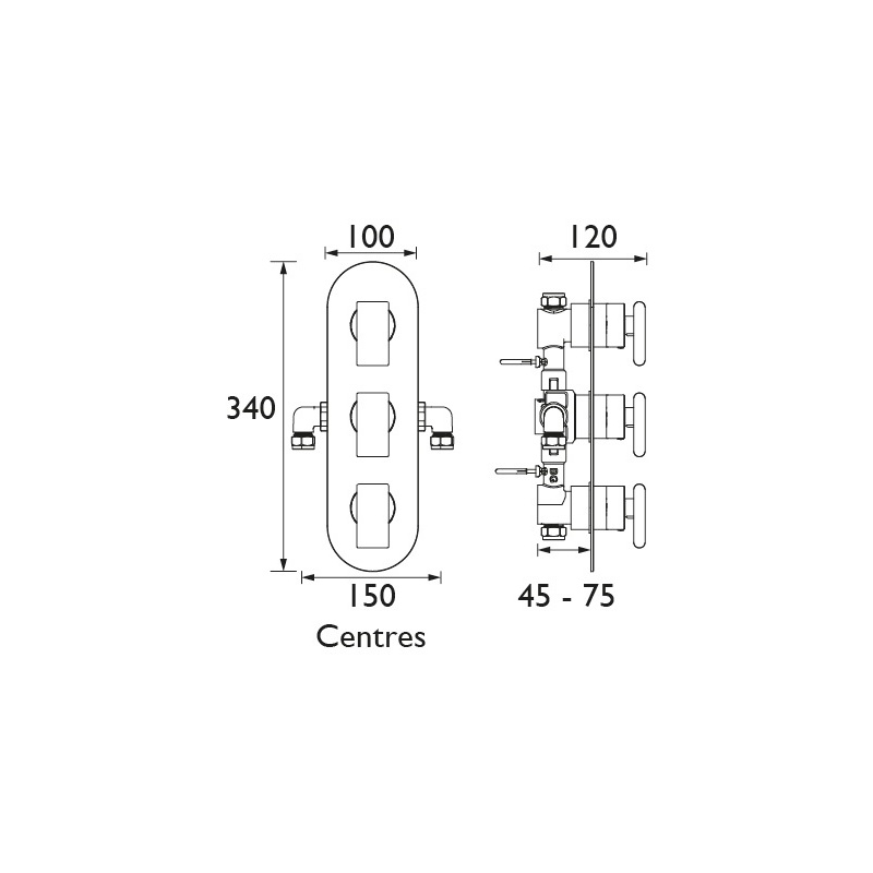 Bristan Pivot Thermostatic 3 Handle Shower Valve with Diverter