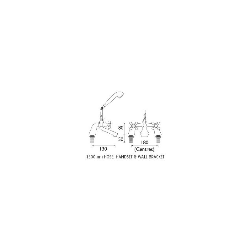 Bristan Regency Pillar Bath Shower Mixer Chrome