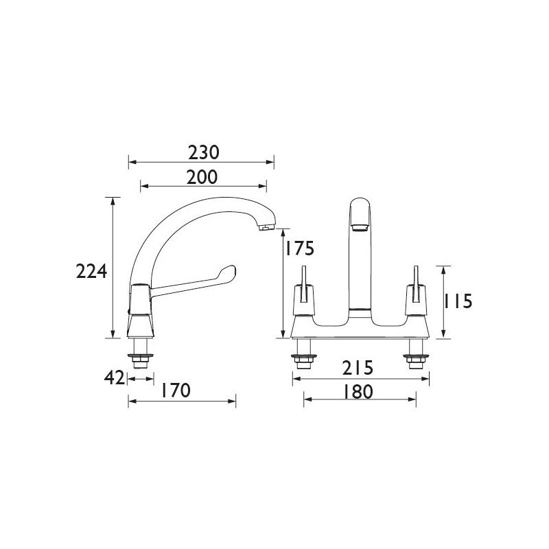 "Bristan Deck Sink Mixer with 6"" Levers & Ceramic Disc Valves"