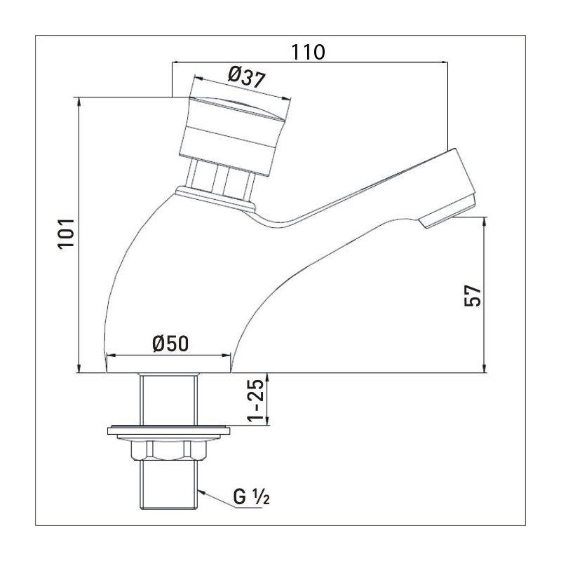 Bristan Timed Flow Soft Touch Single Basin Tap Chrome