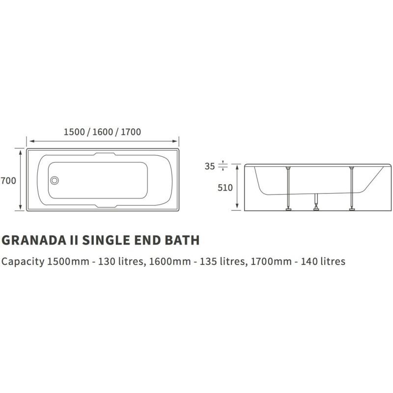Bathrooms To Love Granada II Twin Grip 5mm 1600x700mm Bath