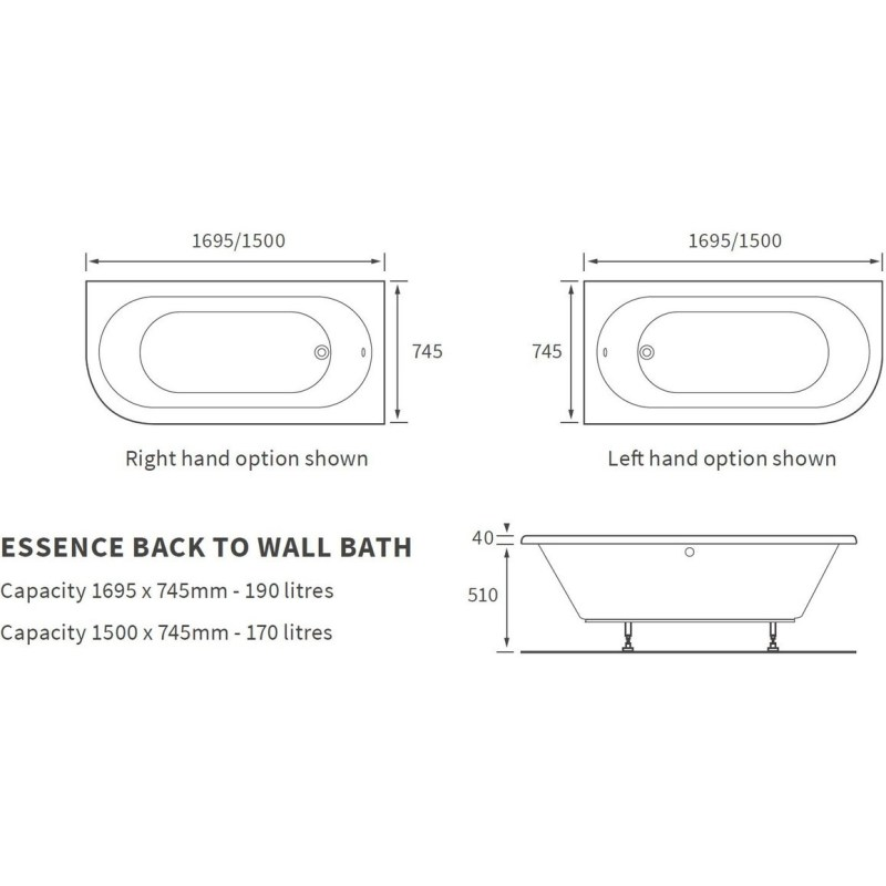 Bathrooms To Love Essence 1500x745mm Back To Wall Bath, Right