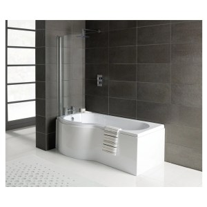 Bathrooms To Love Essentials P-Shape Shower Bath, Panel & Screen Left