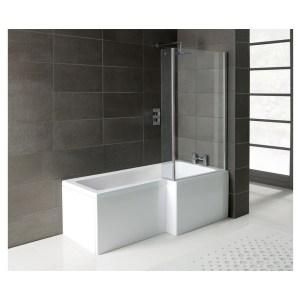 Bathrooms To Love Essentials L-Shape Shower Bath, Panel & Screen Right