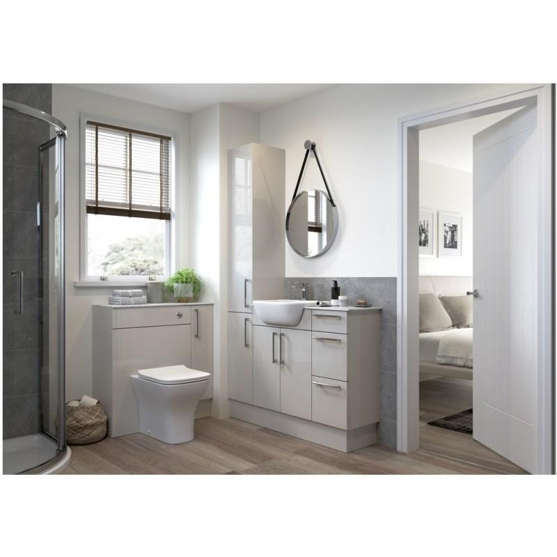 Bathrooms To Love Alba 600mm Slim WC Unit Light Grey Gloss