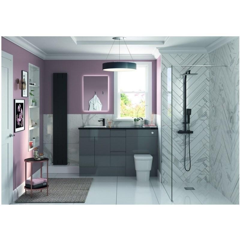 Bathrooms To Love Valesso 200mm Slim Base Unit Onyx Grey Gloss
