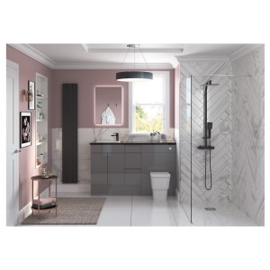 Bathrooms To Love Valesso 2200x330mm Tall End Panel Onyx Grey