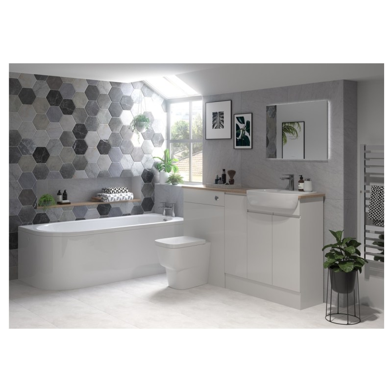 Bathrooms To Love Valesso 2200x330mm Tall End Panel Pearl Grey
