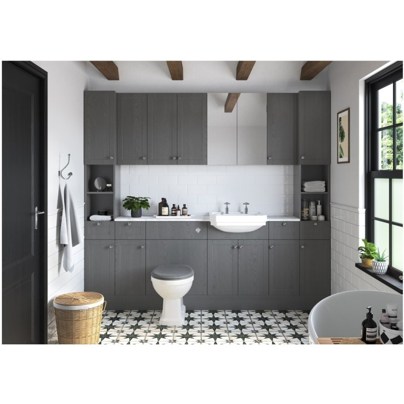 Bathrooms To Love Benita 300mm 1 Drawer, 1 Door Base Unit Grey Ash