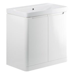 Bathrooms To Love Lambra 800mm Floor Unit & Basin White Gloss
